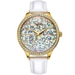 JULIUS聚利時 璀璨萬花筒水鑽皮帶腕錶-白色/38mm