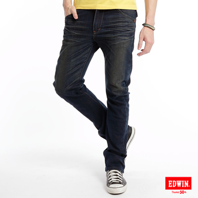 【EDWIN】極限悍將 E-F ZERO伸縮中直筒牛仔褲-男款(中古藍)