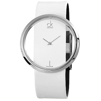 Calvin Klein 個性美型鏤空石英腕錶(K9423101)-白色/42mm