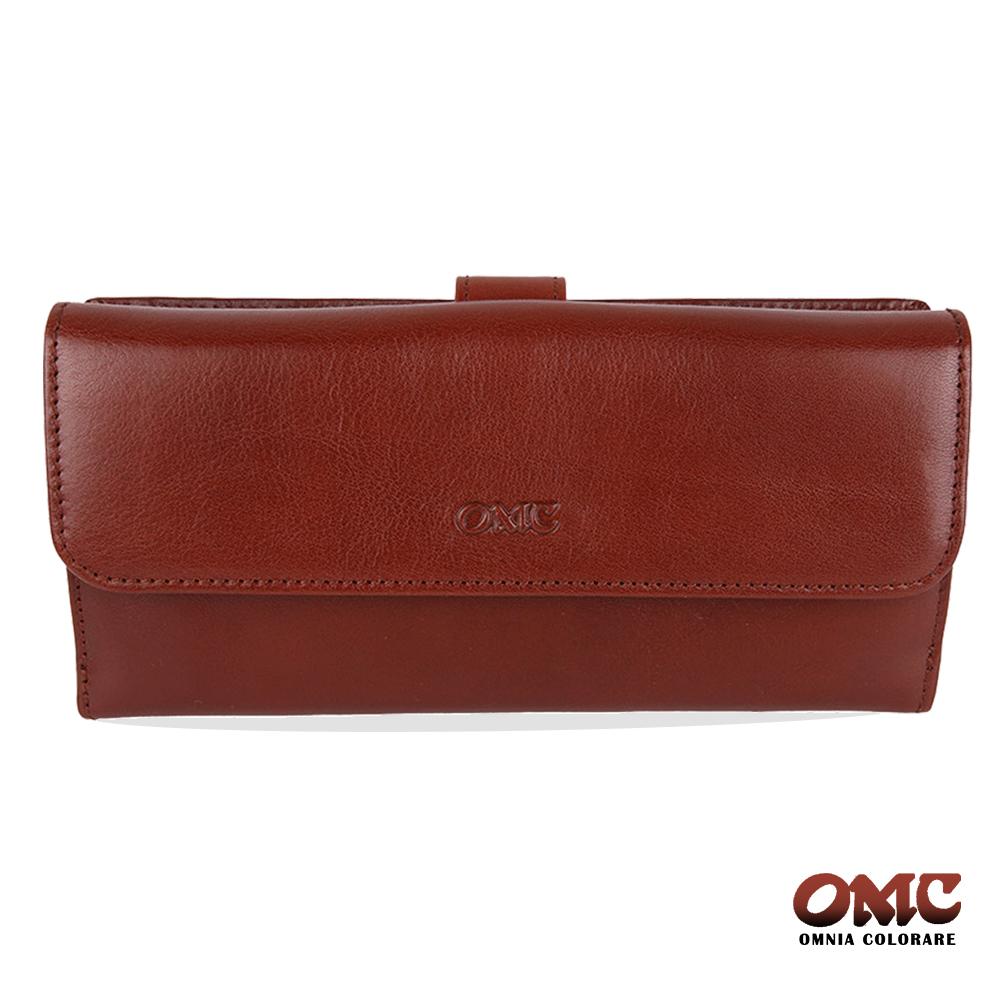 OMC 原皮系列-植鞣牛皮舌片壓扣17卡透明窗多隔層零錢長夾-咖啡色