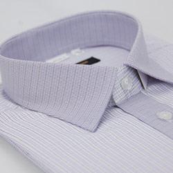 金‧安德森 紫色格紋變化領窄版短袖襯衫