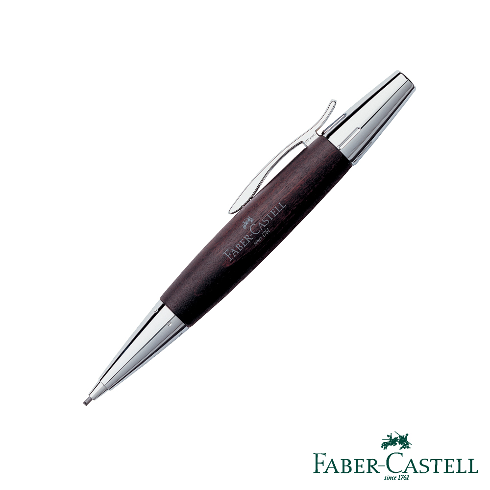 Faber-Castell E-MOTION-高雅梨木系列旋轉鉛筆(銀亮面)