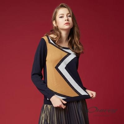 OUWEY歐薇 時尚幾何針織上衣(藍)