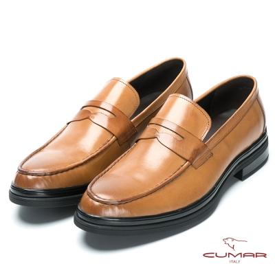 CUMAR 休閒皮鞋底 精選胎牛皮樂福鞋-淺黃胎牛