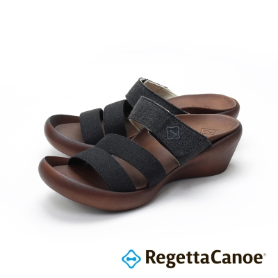 RegettaCanoe-三條寬帶 楔型跟底樂步鞋-經典黑