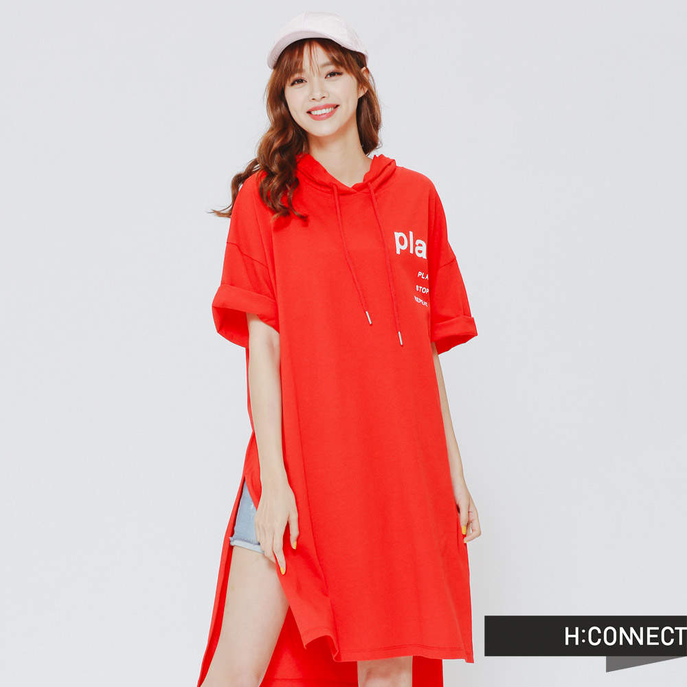 H:CONNECT韓國品牌女裝-PLAY連身帽T-紅