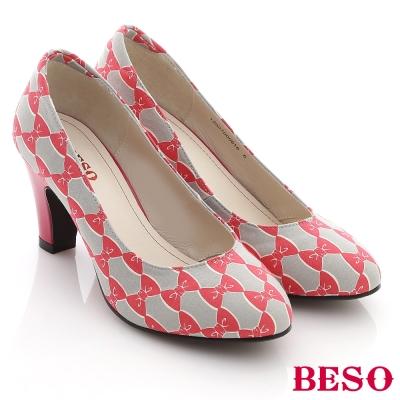 BESO花漾繽紛-日本進口蝴蝶幾何布料霓彩高跟鞋