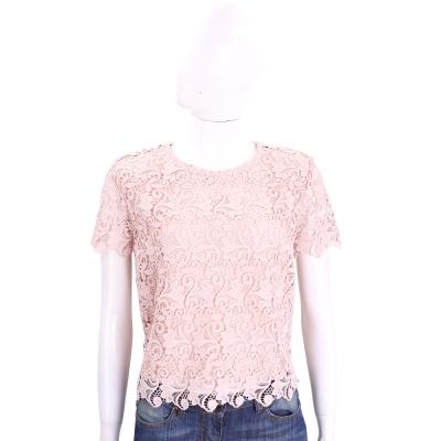 ERMANNO SCERVINO 粉色後排釦短袖織花蕾絲上衣