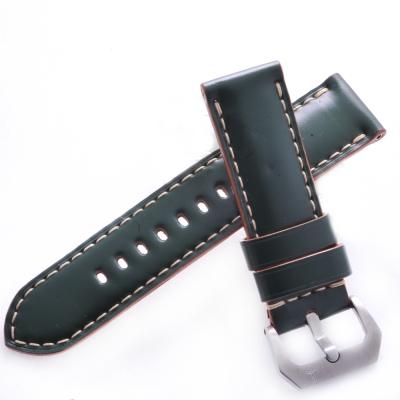 TED SU 太和錶帶 追風Panerai 沛納海代用帶綠色馬皮米色線-24*24mm