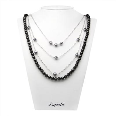 大東山珠寶 可變換3+1層次款南洋貝寶珠長版項鍊-黑
