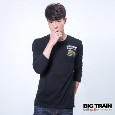 BIG TRAIN 紅日花柄龍紋印花TEE-男-黑色