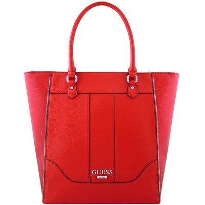 GUESS 紅色皮革壓紋托特包