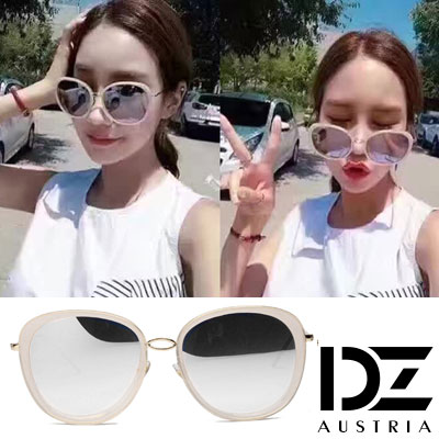 DZ 風華圓舞曲 抗UV太陽眼鏡造型墨鏡(米金框水銀膜)