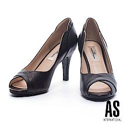 高跟鞋 AS 高雅氣質異材質拼接羊皮魚口高跟鞋-黑