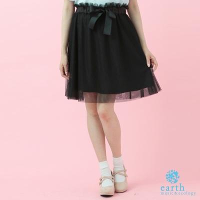 earth music 腰間蝴蝶結緞帶設計薄紗短裙