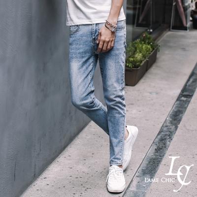 L-AME-CHIC-美式淺藍刷白撞色扣環修身窄管