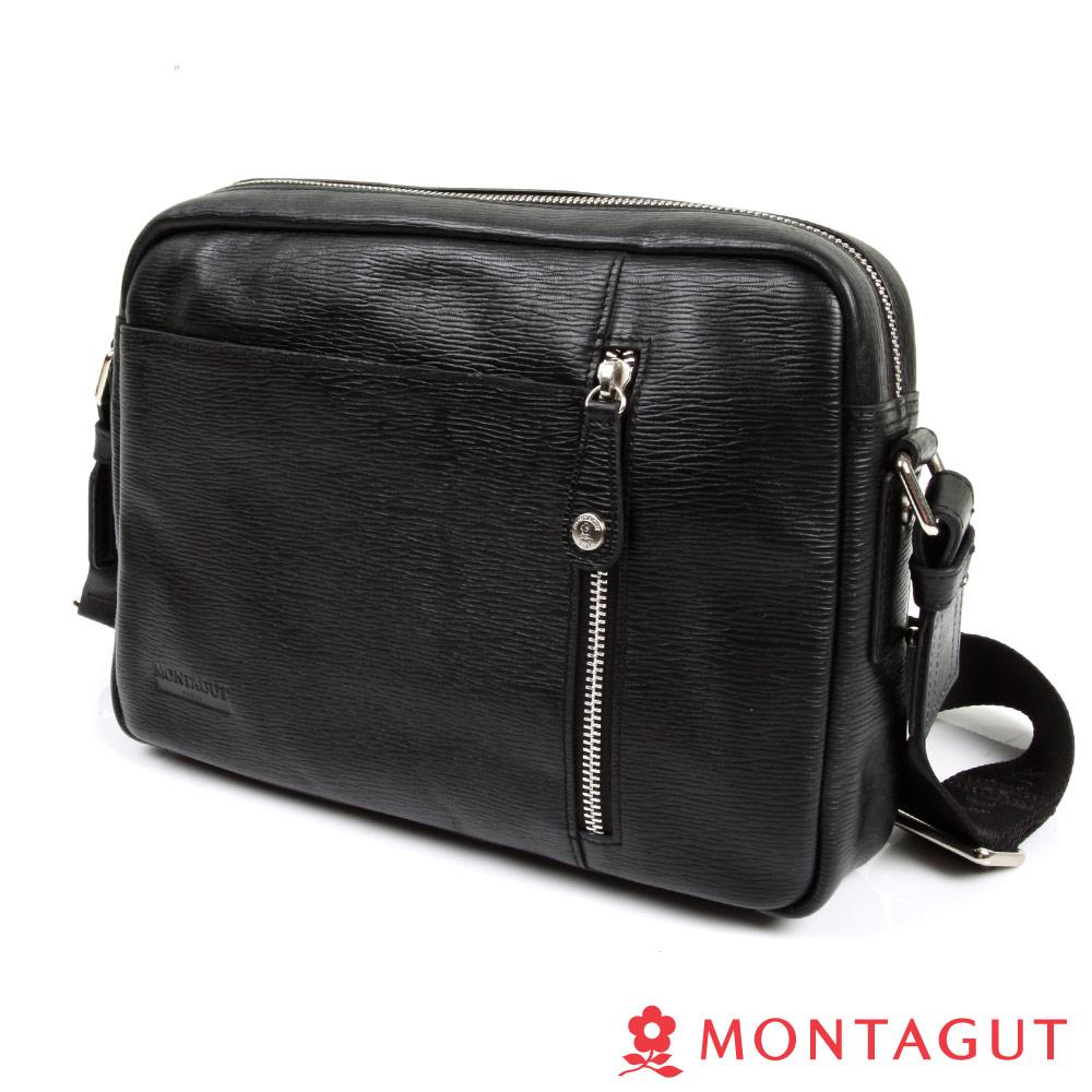 MONTAGUT夢特嬌-細切紋全頭層牛皮側背包(橫式)