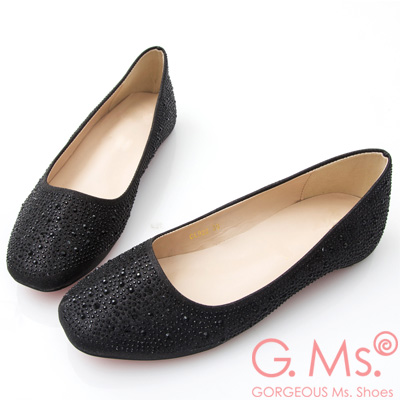 G.Ms. 水鑽金蔥新娘婚宴平底娃娃鞋-黑色
