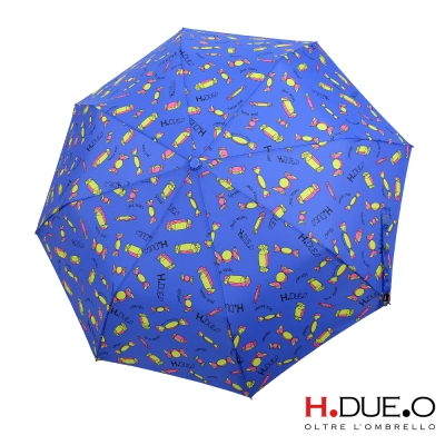義大利H.DUE.O甜心糖果抗UV三折半自動傘-藍色