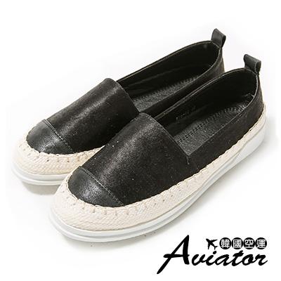 Aviator*韓國空運。皮革拼接編織草編顯白休閒懶人鞋-黑
