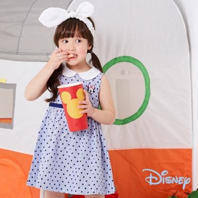 Disney 夏日米妮點點洋裝 深藍