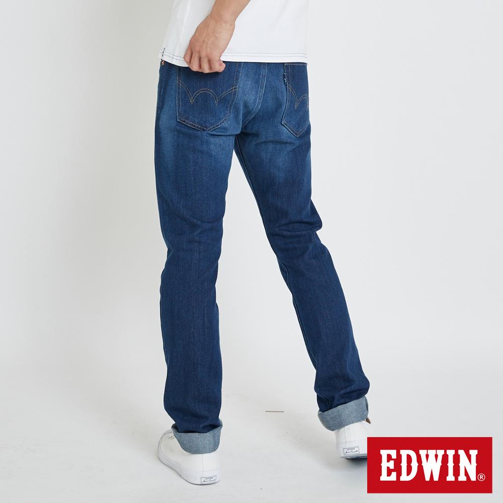 EDWIN 大尺碼503重磅五袋窄管牛仔褲 -男-石洗藍