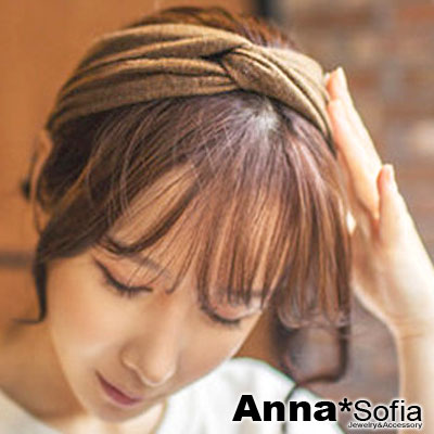 AnnaSofia-韓款絨布交叉結-彈性寬髮帶-褐咖