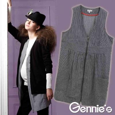 【Gennie's奇妮】棉質V領口袋秋冬孕婦長版背心上衣-條紋黑(G3228)