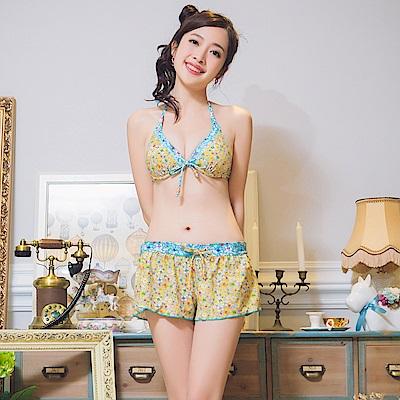 【AngelLuna日本泳裝】波希米亞三件式比基尼泳衣-黃色