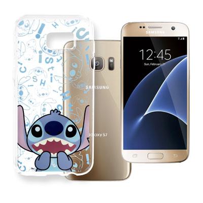 迪士尼 Samsung Galaxy S7 5.1吋 大頭透明手機軟殼(摀嘴史迪...