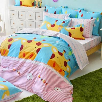 義大利Fancy Belle 晴天小鹿 雙人四件式防蹣抗菌舖棉兩用被床包組