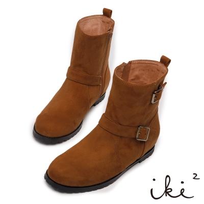 iki2經典百搭-素面內增高舒適短靴-褐色