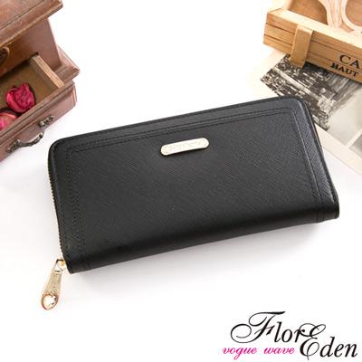DF Flor Eden皮夾 - 都會女性牛皮款十字紋單拉鍊長夾-黑色