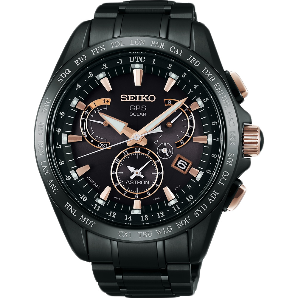 SEIKO ASTRON GPS 鈦 衛星太陽能電波腕錶(SSE075J1)-黑/45mm