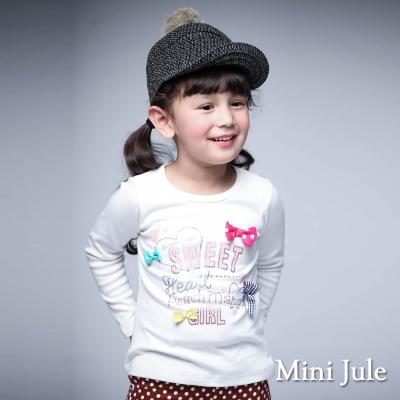 Mini Jule 童裝-上衣 彩色蝴蝶結字母圓領長袖棉T(米白)