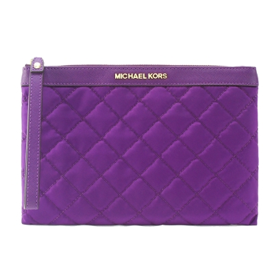 MICHAEL KORS KIERAN 金字菱格紋尼龍大手拿包(紫)