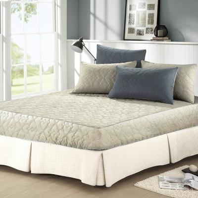精靈工廠 幸運草系列3M防潑水加大一件式舖棉床包式保潔墊-灰