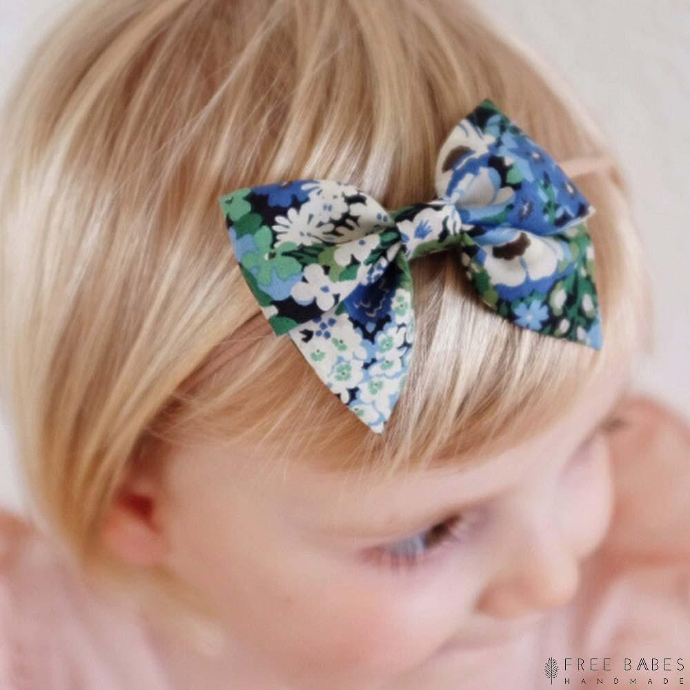 FBH 美國 水藍花漾款英國花布小蝴蝶結髮帶