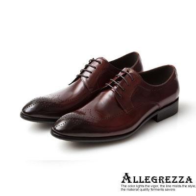 ALLEGREZZA-真皮男鞋-經典魅力-真皮藝紋雕花尖頭綁帶鞋咖啡紅色