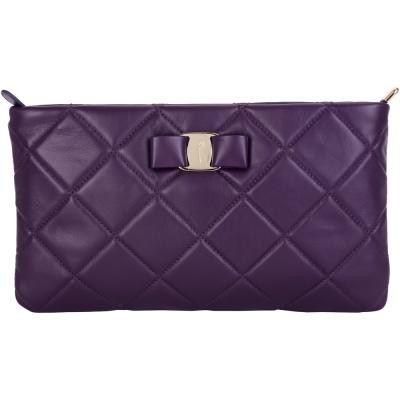 Salvatore Ferragamo VARA QUILTED 菱格小牛皮手拿包(紫色)