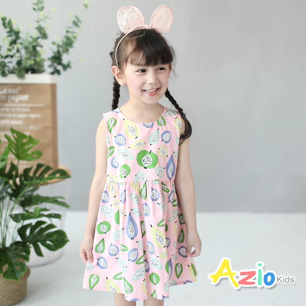 Azio Kids 童裝-洋裝 滿版水果後拉鍊背心洋裝(粉)