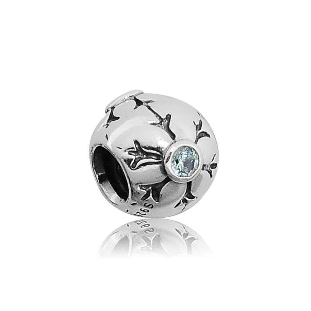 Pandora 潘朵拉 雪花圖案鑲藍鋯 純銀墜飾 串珠