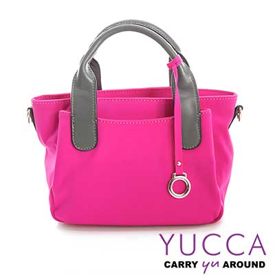 YUCCA - 牛皮+尼龍小巧休閒手提2Way包-紫紅D005707