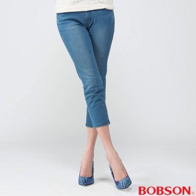 BOBSON   女款膠原蛋白七分褲-淺藍
