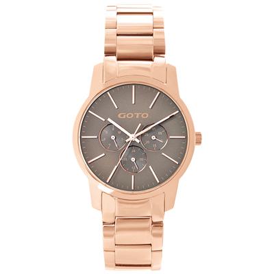 GOTO 繽紛色彩時尚腕錶-IP玫x灰玫/40mm