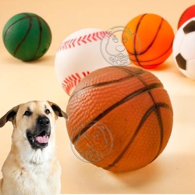 DYY》寵物訓練啾啾叫發聲橡膠狗玩具球|籃球|足球-(共2入)