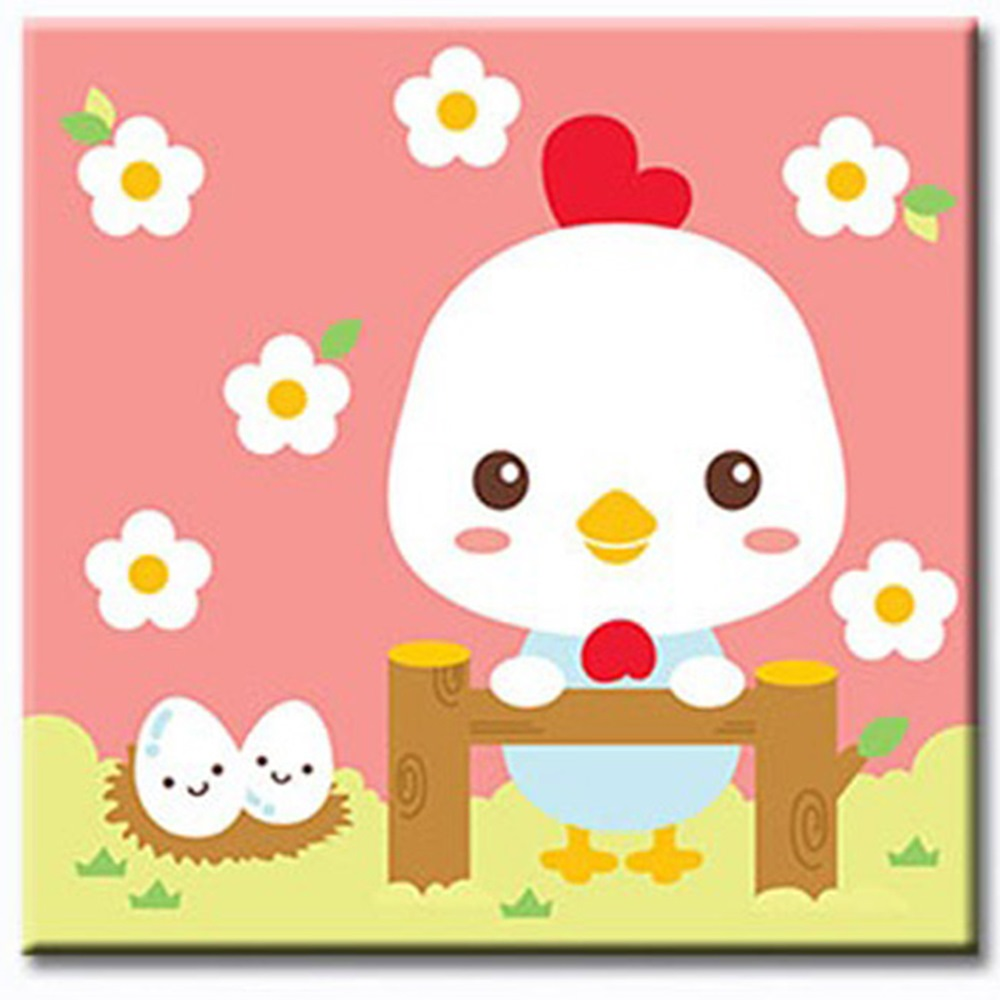 LOVIN 超萌韓版數字油畫 可愛雞(10) 1幅 20X20