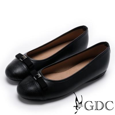 GDC-真皮氣質典雅蝴蝶結圓頭平底鞋-黑色