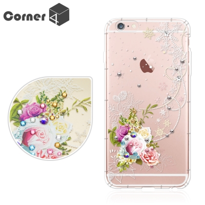 Corner4 iPhone6s / 6 PLUS 5.5吋奧地利彩鑽防摔手機殼-緋雪薔薇