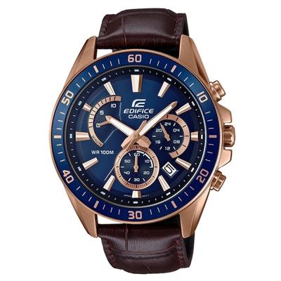 EDIFICE極速魅力俐落帥氣金時尚皮帶腕錶(EFR-552GL-2)藍面X咖啡47mm